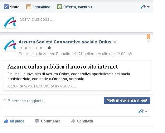 Pagina Facebook di Azzurra